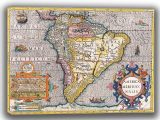 Hondius, Henricus: Map of the Americas. Antique/Vintage 17th Century Map. Fine Art Canvas. Sizes: A4/A3/A2/A1 (003900)